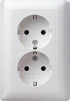 Двойная розетка с заземлением Gira Standard 55 Белый (078003)