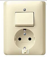 Комбинированный прибор розетка и выключатель Gira Standard 55 Кремовый (017601)
