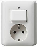 Комбинированный прибор розетка и выключатель Gira Standard 55 Белый (017603)
