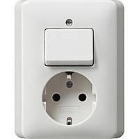 Комбинированный прибор розетка и выключатель Gira Standard 55 Матовый Белый (017604)