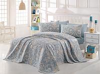 Комплект постельного белья евро c вафельным покрывалом, Tuval Mavi