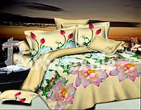 Комплект постельного белья двуспальный евро бежевого цвета с лотосом
