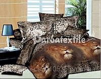 Евро постельное белье леопардовое из натурального хлопка
