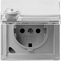Розетка с заземлением (замок с индивид. ключем) Gira TX_44 (WG UP) Алюминий (044765)