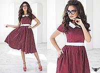 Платье миди в горошек с белым воротником и поясом красное, красненькое