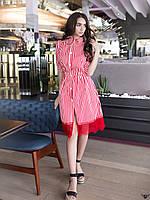 Платье-рубашка миди в полосочку и гипюром красненькое, красное