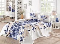 Комплект постельного белья евро c вафельным покрывалом, Mahsima Mavi