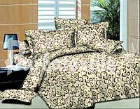 Комплект постельного белья евро из бязи вензель светлый