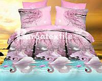 Натуральное постельное белье семейное с лебедями