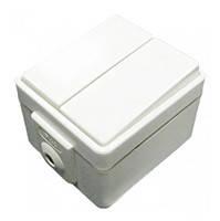 """Выключатель 2-х клавишный типа """"Контактор"""" для жалюзи HERMETICA (без винтов) 10А/230В Hager Белый (16000902)"""