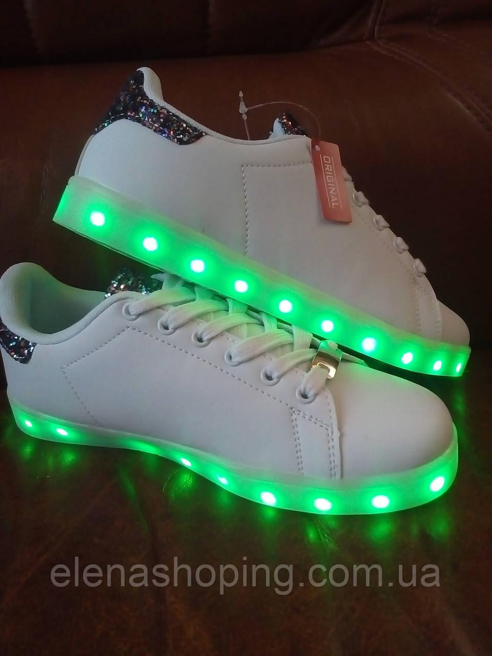 Кроссовки молодежные  с LED подсветкой белые. р (39-41) 39