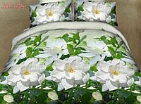 Натуральное постельное белье семейное лотос на зеленом