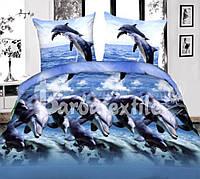 Постельный комплект дельфины 3д семейный недорого