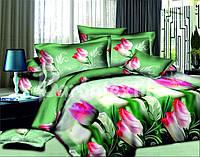 Постельный комплект семейный с розовыми тюльпанами недорого
