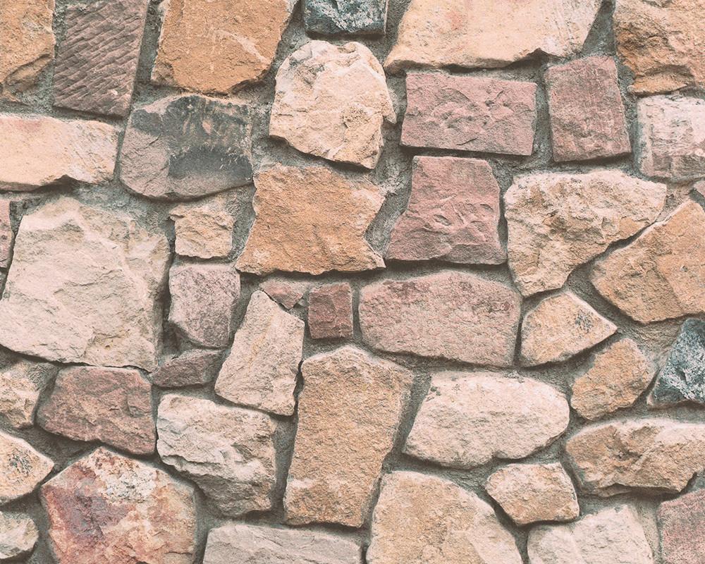 Плотные и прочные фактурные обои, бумажные, имитация кладки природных камней 692412.