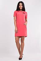 Стильное деловое платье с вышивкой. Платье кораловое