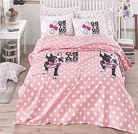 Комплект постельного белья евро c вафельным покрывалом, Boston Pembe