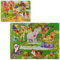 Деревянная игрушка рамка - вкладыш «Животные» C20287-88