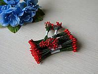 Тычинки Тайские ручной работы.Цвет красный капельки на зеленой нити. 24-25 ниток 48-50 головок
