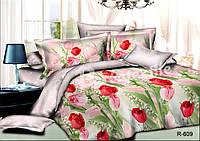 Постельное белье полуторное с тюльпанами