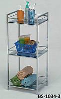 Полка для ванной металлическая, этажерка напольная BS-1034-3