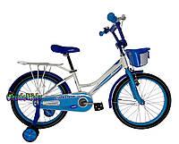 """Детский велосипед для девочек Crosser Happy 16"""" бело-голубой"""