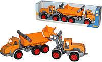 Игровой набор Полесье КонсТрак трёхосный автомобиль-самосвал и КонсТрак трактор-погрузчик (38159)