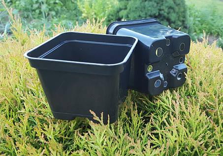 Горшок для рассады 0,4л (9x9x7см),квадратный, черный,400шт\уп, фото 2