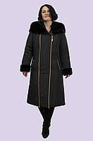Молодежное зимнее пальто женское на молнии, мех искусственный мутон, есть большие размеры Синтепон, Молния, Мех, 60, Зима