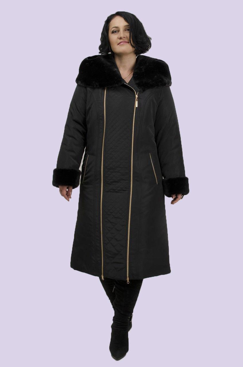 Молодежное зимнее пальто женское на молнии, мех искусственный мутон, есть большие размеры Синтепон, Молния, Мех, 60, Зима - Mandarin в Киеве