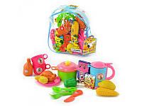 """Детский игровой набор игрушки для девочек """"Посуда с продуктами, в рюкзаке"""" 9952"""