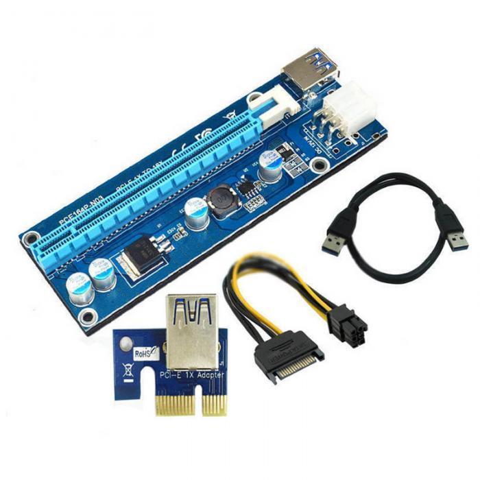 Райзер PCI-E 1X - 16X, USB 3.0 кабель 60см, питание 6 pin