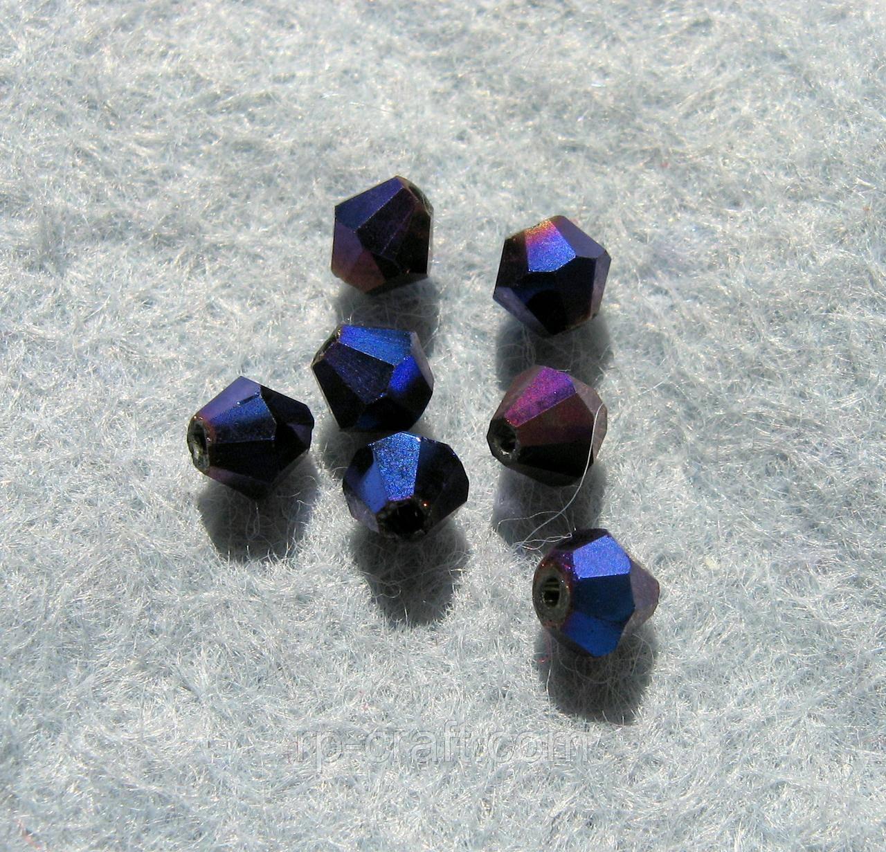Бусина стеклянная, 4х4 мм, темно-синяя, биконус, Сваровски