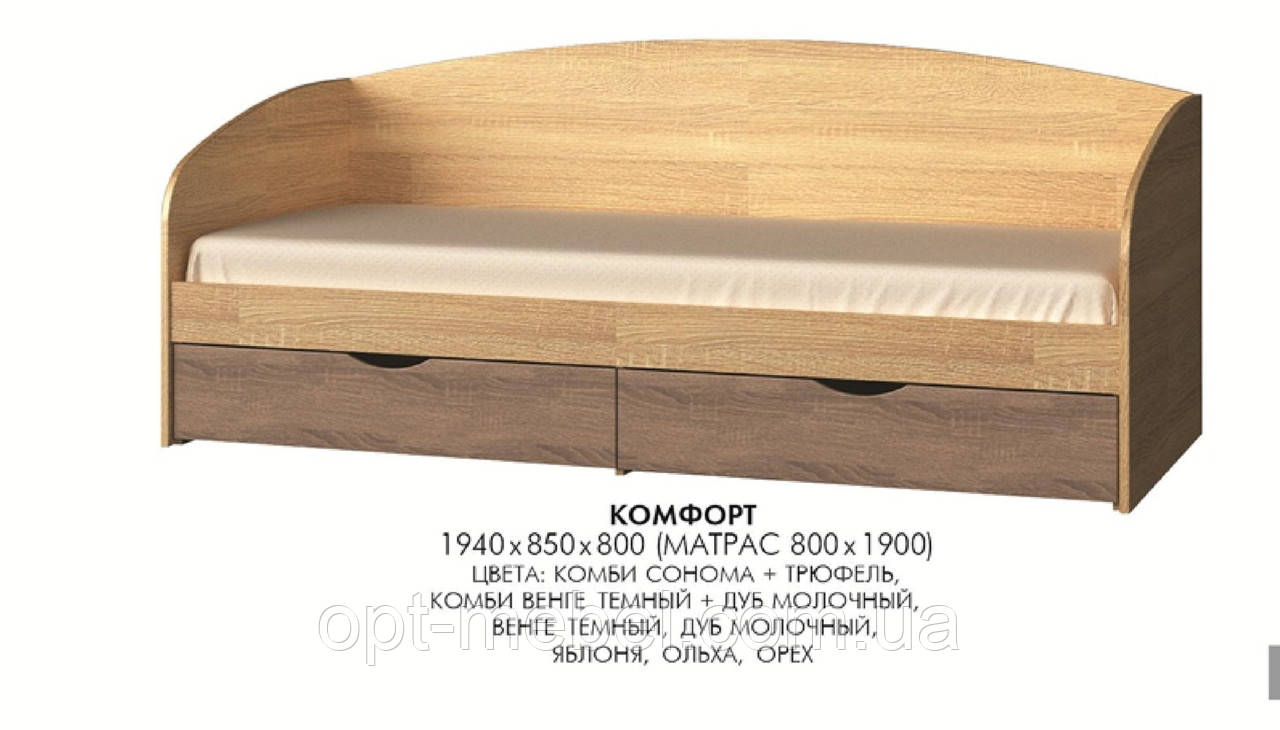 Кровать Комфорт с ящиками ( спальное 190*80)