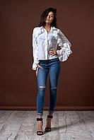 Женская рубашка с воланами на рукавах. Цвет белый. Код модели Б-19-50-17.