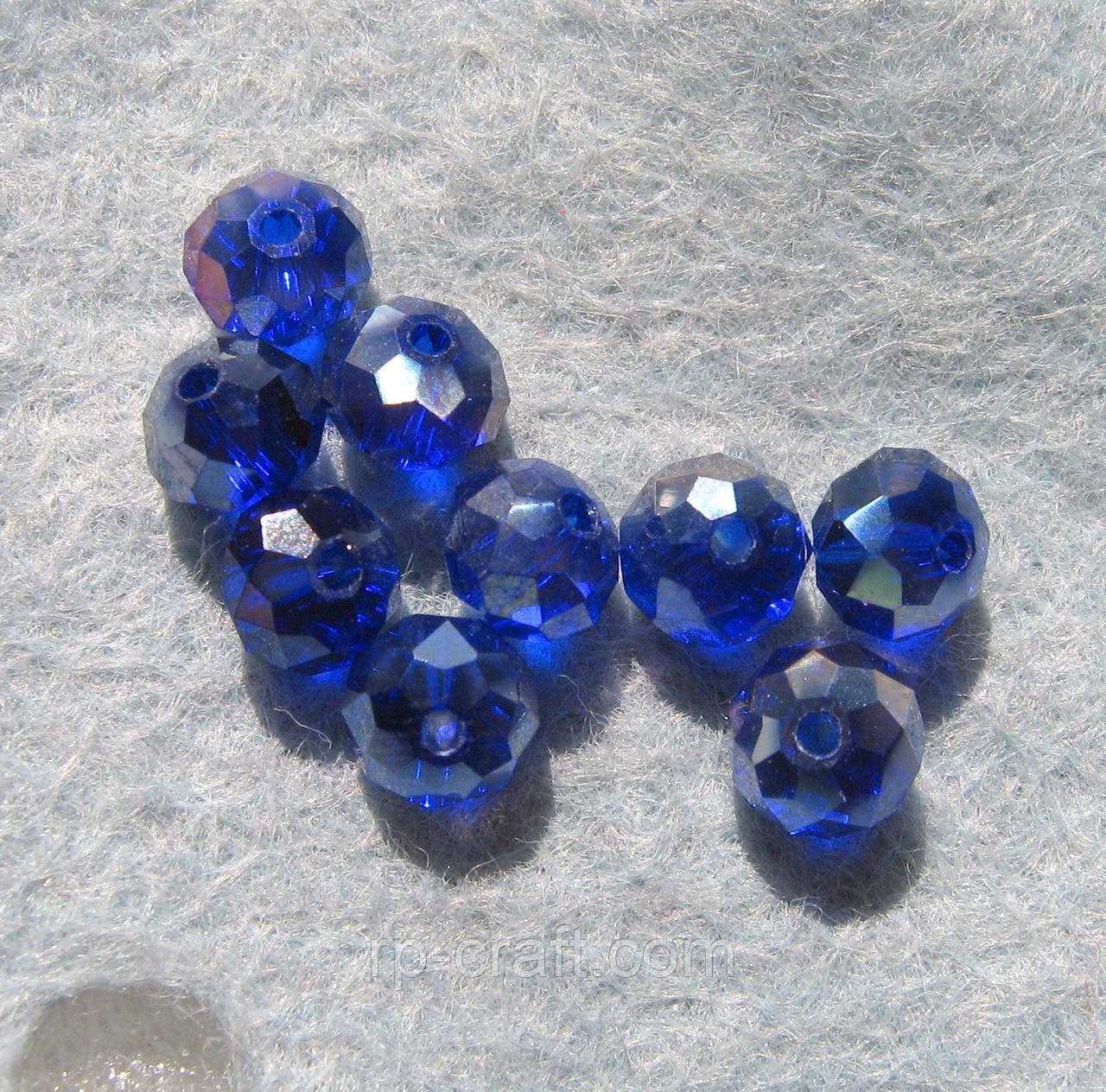 Бусина стеклянная, 4х6 мм, темно-синяя