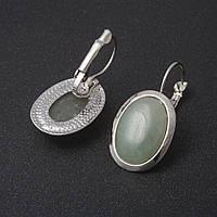 Серьги Нефрит  гладкая оправа  овальный  камень 2,2*1,8см L-3,2см