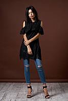 Женская блуза - туника с воланом. Цвет черный. Код модели Б-16-53-17.