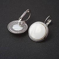 Серьги Перламутр гладкая оправа круглый   камень 2см L-3,1см