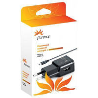 СЗУ Florence USB + cable microUSB black, 1000mA (TC10-MU)