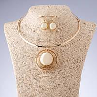 """Набор бижутерии """"Шар"""" ожерелье на обруче + серьги цвет """"золото"""""""
