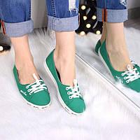 Балетки кеды женские летние Line зеленые,магазин обуви