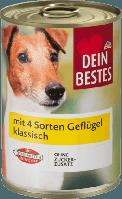 Консерва 4 видов мяса птицы для собак  Nassfutter für Hunde mit 4 Sorten Geflügel klassisch 400 г