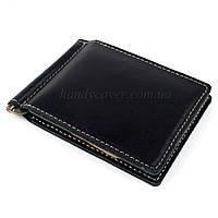 Кожаный зажим для денег Crez-4 (черный)