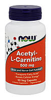 NOW - Acetyl L-Carnitine 500mg (50 caps) \ Ацетил-L-карнітин, фото 1