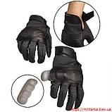 Перчатки тактические кожа/ текстиль черные, фото 2