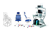 Компьютерный стол KD-F1062 +кресло LST5 Blue Синее Fun Desc