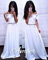 Женское летнее длинное платье с открытыми плечами в пастельных тонах