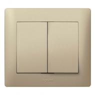 Лицевая панель выключатель/переключатель 2-клавишного Legrand Galea Life Титан (771412)
