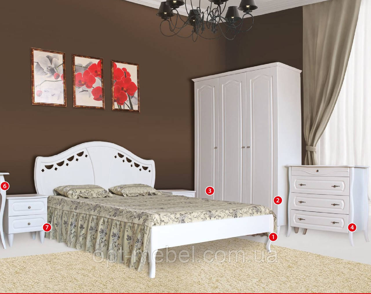 Ліжко Луїза біла двоспальне